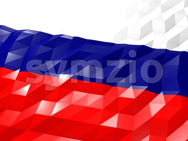 Flag of Russian Federation 3D Wallpaper Illustration, National Symbol, Low Polygonal Glossy Origami Style