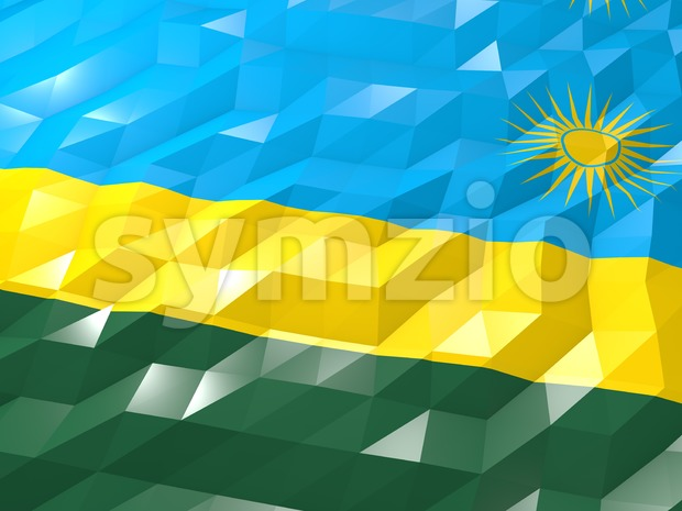 Flag of Rwanda 3D Wallpaper Illustration, National Symbol, Low Polygonal Glossy Origami Style