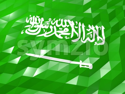 Flag of Saudi Arabia 3D Wallpaper Illustration Stock Photo