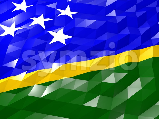 Flag of Solomon Islands 3D Wallpaper Illustration, National Symbol, Low Polygonal Glossy Origami Style
