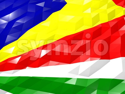 Flag of Seychelles 3D Wallpaper Illustration Stock Photo