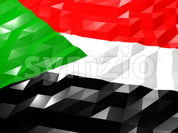 Flag of Sudan 3D Wallpaper Illustration, National Symbol, Low Polygonal Glossy Origami Style