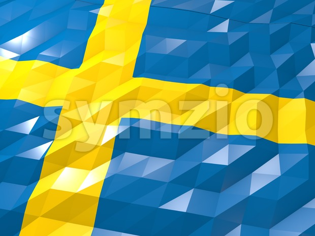Flag of Sweden 3D Wallpaper Illustration, National Symbol, Low Polygonal Glossy Origami Style