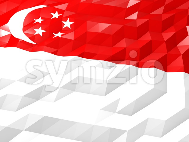 Flag of Singapore 3D Wallpaper Illustration Stock Photo