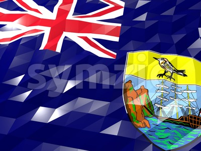 Flag of Saint Helena, Ascension and Tristan da Cunha 3D Wallpape Stock Photo