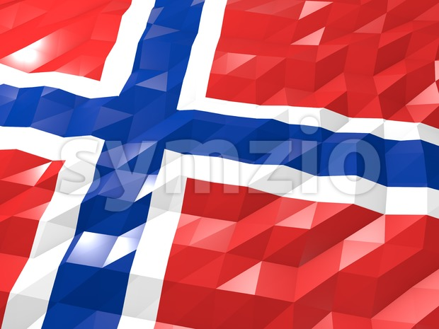 Flag of Svalbard and Jan Mayen 3D Wallpaper Illustration Stock Photo