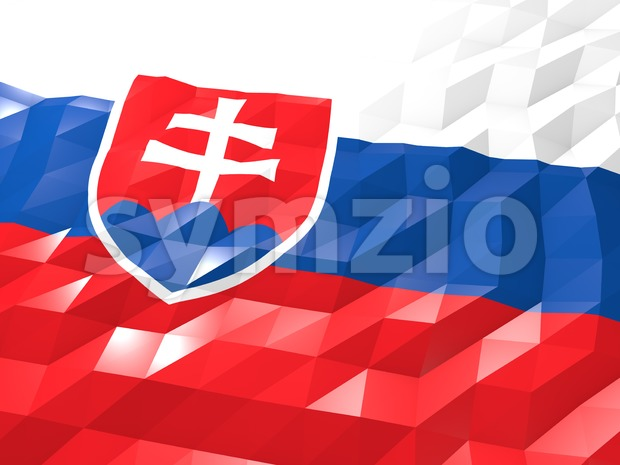 Flag of Slovakia 3D Wallpaper Illustration Stock Photo