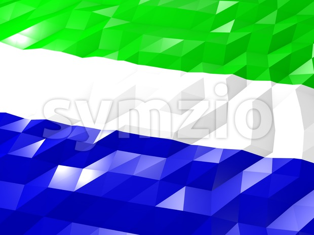Flag of Sierra Leone 3D Wallpaper Illustration, National Symbol, Low Polygonal Glossy Origami Style