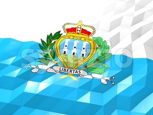 Flag of San Marino 3D Wallpaper Illustration Stock Photo