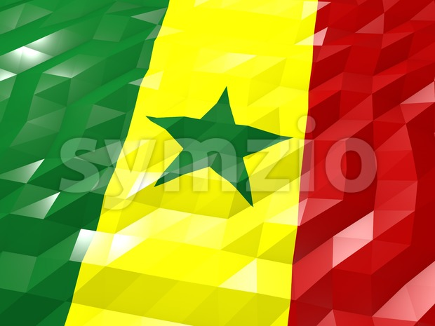 Flag of Senegal 3D Wallpaper Illustration Stock Photo