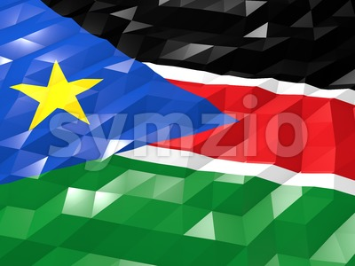 Flag of South Sudan 3D Wallpaper Illustration Stock Photo