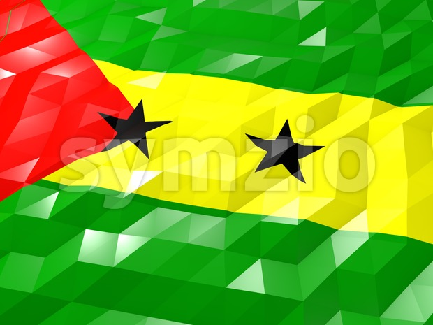 Flag of Sao Tome and Principe 3D Wallpaper Illustration, National Symbol, Low Polygonal Glossy Origami Style