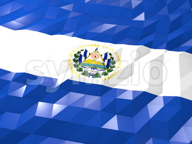 Flag of El Salvador 3D Wallpaper Illustration Stock Photo