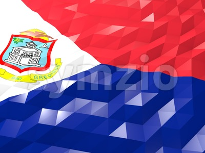 Flag of Sint Maarten (Dutch part) 3D Wallpaper Illustration Stock Photo