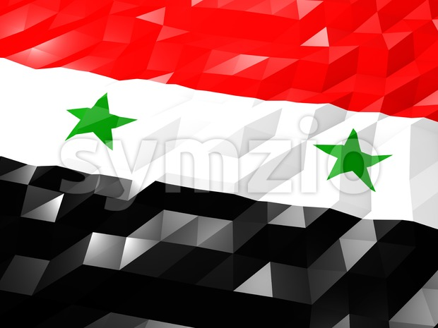 Flag of Syria 3D Wallpaper Illustration, National Symbol, Low Polygonal Glossy Origami Style