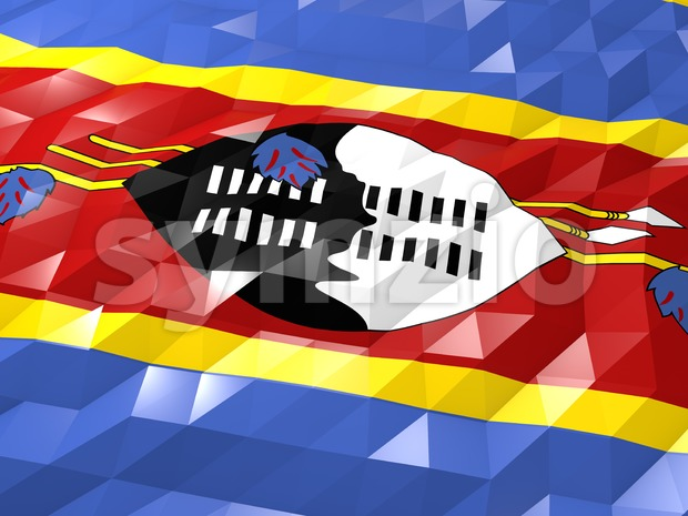 Flag of Swaziland 3D Wallpaper Illustration Stock Photo