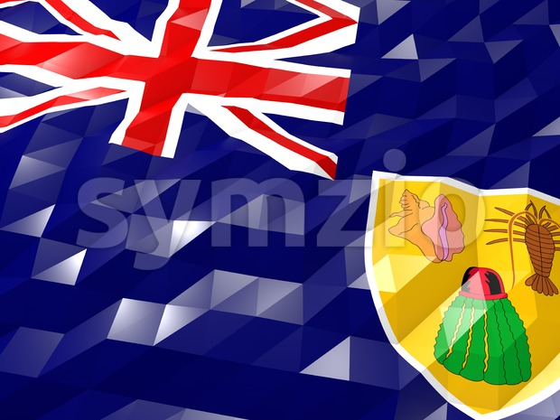Flag of Turks and Caicos Islands 3D Wallpaper Illustration, National Symbol, Low Polygonal Glossy Origami Style