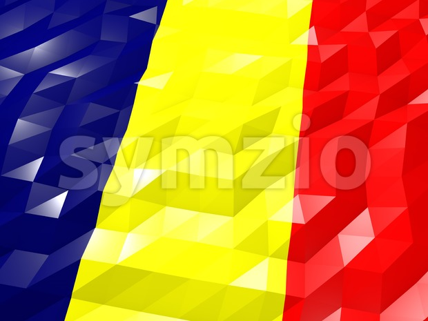 Flag of Chad 3D Wallpaper Illustration, National Symbol, Low Polygonal Glossy Origami Style