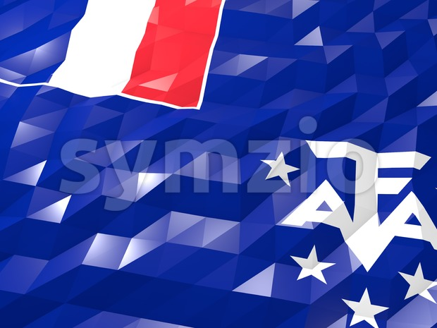 Flag of French Southern Territories 3D Wallpaper Illustration, National Symbol, Low Polygonal Glossy Origami Style