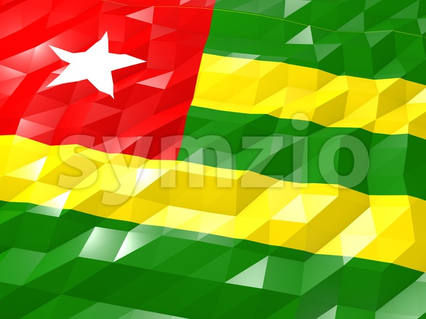 Flag of Togo 3D Wallpaper Illustration Stock Photo