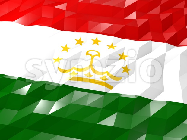Flag of Tajikistan 3D Wallpaper Illustration, National Symbol, Low Polygonal Glossy Origami Style