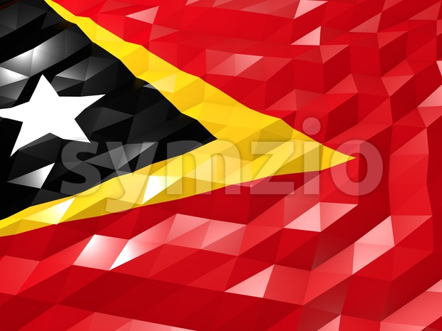 Flag of Timor-Leste 3D Wallpaper Illustration Stock Photo