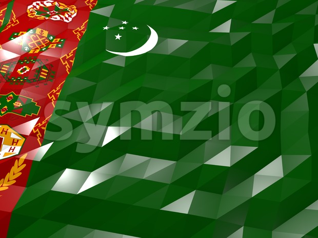 Flag of Turkmenistan 3D Wallpaper Illustration, National Symbol, Low Polygonal Glossy Origami Style