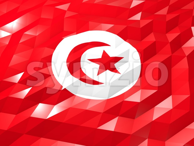 Flag of Tunisia 3D Wallpaper Illustration, National Symbol, Low Polygonal Glossy Origami Style