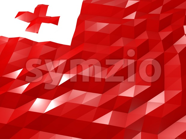 Flag of Tonga 3D Wallpaper Illustration, National Symbol, Low Polygonal Glossy Origami Style