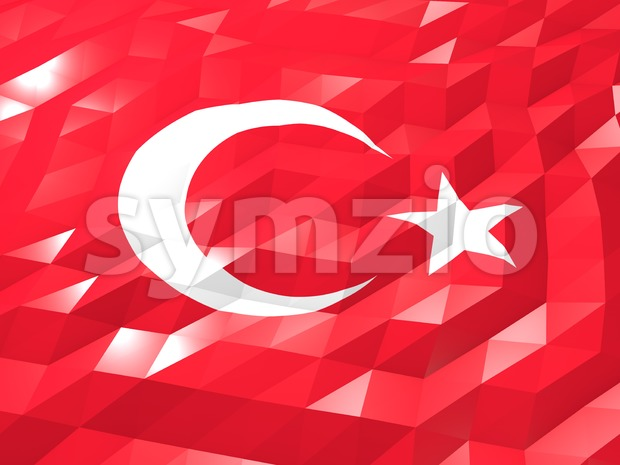 Flag of Turkey 3D Wallpaper Illustration, National Symbol, Low Polygonal Glossy Origami Style