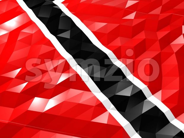 Flag of Trinidad and Tobago 3D Wallpaper Illustration, National Symbol, Low Polygonal Glossy Origami Style