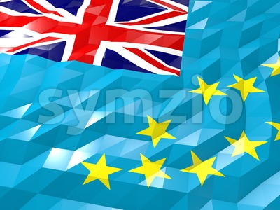 Flag of Tuvalu 3D Wallpaper Illustration Stock Photo
