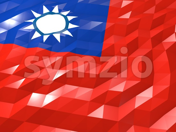 Flag of Taiwan 3D Wallpaper Illustration, National Symbol, Low Polygonal Glossy Origami Style