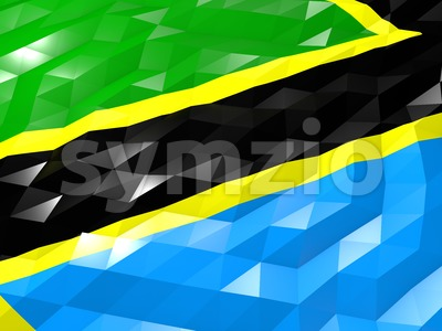 Flag of Tanzania 3D Wallpaper Illustration Stock Photo