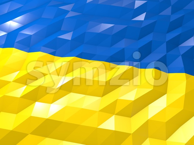 Flag of Ukraine 3D Wallpaper Illustration Stock Photo