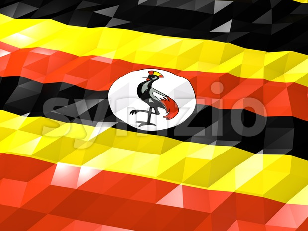 Flag of Uganda 3D Wallpaper Illustration, National Symbol, Low Polygonal Glossy Origami Style