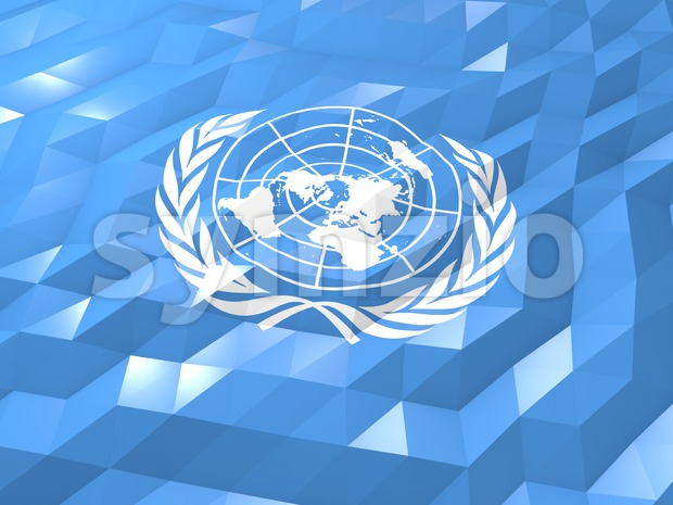 Flag of United Nations 3D Wallpaper Illustration Stock Photo
