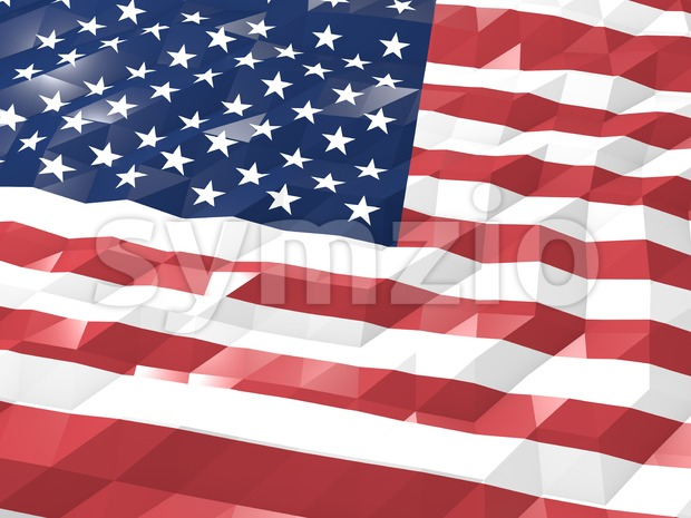 Flag of United States of America 3D Wallpaper Illustration, National Symbol, Low Polygonal Glossy Origami Style