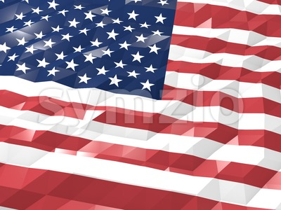 Flag of United States of America 3D Wallpaper Illustration Stock Photo