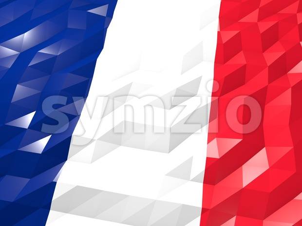 Flag of Wallis and Futuna 3D Wallpaper Illustration Stock Photo