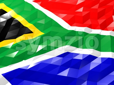 Flag of South Africa 3D Wallpaper Illustration Stock Photo