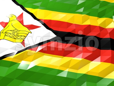 Flag of Zimbabwe 3D Wallpaper Illustration Stock Photo