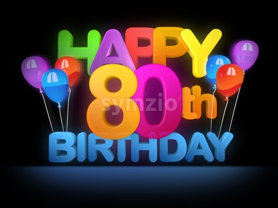 Happy 80th Birthday Title, dark Stock Photo