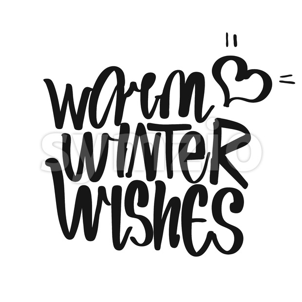 Warm Winter Wishes handwritten lettering Stock Vector
