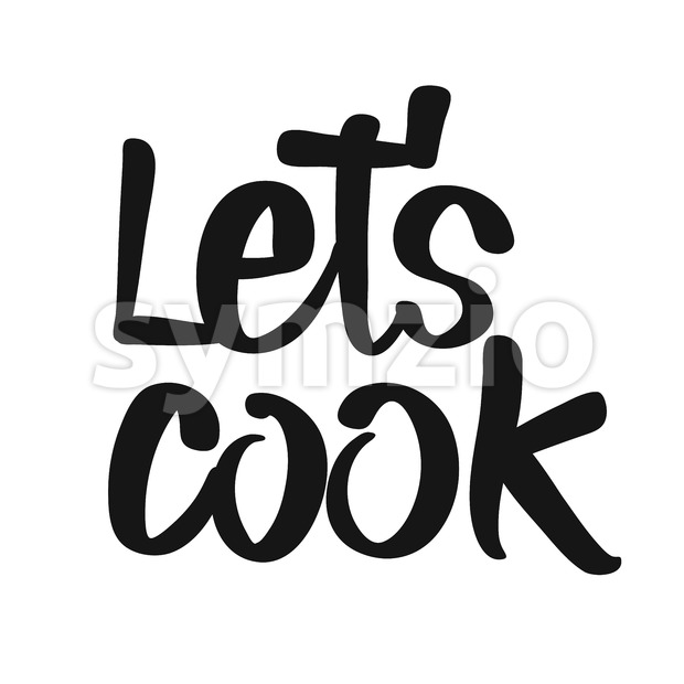 Let's Cook handwritten lettering. Printable Kitchen art sign for Food and Cook topics.