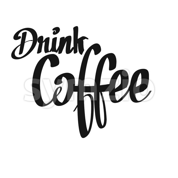 Drink Coffee handwritten lettering. Printable Poster art sign for Menu and Bar topics.
