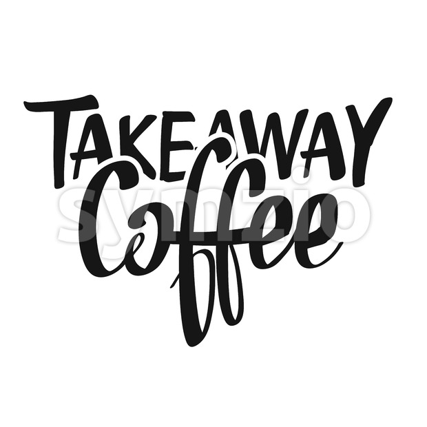 Coffee Takeaway handwritten lettering Stock Vector