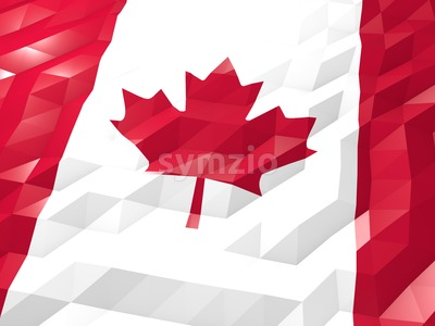 Flag of Canada 3D Wallpaper Illustration Stock Photo