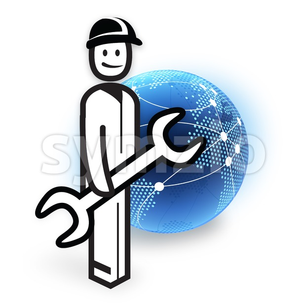 Service Employee and Dotted Globe Network Stock Photo