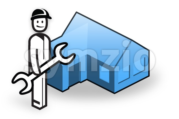 Plumber with tool in front of little house Stock Photo